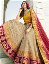 photo of Satin Silk Fabric Wedding Function Wear Designer Embroidered Cream Color Lehenga