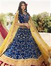 image of Art Silk Fabric Blue Color Wedding Function Wear Designer Embroidered Lehenga Choli