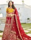 image of Designer Embroidered Red Color Wedding Function Wear Art Silk Fabric Lehenga Choli