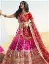 image of Rani Color Silk Fabric Bridal Wear Lehenga Choli