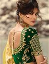 photo of Fancy Fabric Designer Bridal Lehenga With Embroidery Work On Golden Color