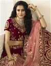 photo of Eid Special Bridal Wear Satin Silk Embroidered Maroon Designer Lehenga Choli