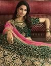 photo of Eid Special Satin Silk Wedding Wear Designer Embroidered Lehenga In Dark Green