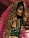 picture of Eid Special Satin Silk Wedding Wear Designer Embroidered Lehenga In Dark Green