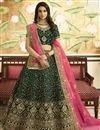 image of Eid Special Satin Silk Wedding Wear Designer Embroidered Lehenga In Dark Green