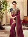image of Embroidery Work On Wedding Wear Saree In Maroon Art Silk Fabric With Charming Blouse