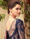 photo of Embroidery Work On Navy Blue Party Wear Saree In Art Silk Fabric With Ravishing Blouse
