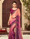 image of Art Silk Fabric Festive Wear Saree In Salmon With Embroidery Work And Fantastic Blouse