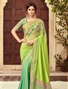 image of Eid Special Green Embroidered Art Silk Fabric Party Wear Saree With Attractive Blouse