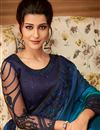 photo of Embroidery Work On Reception Wear Chiffon Saree In Navy Blue Color With Designer Blouse