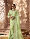 image of Eid Special Green Function Wear Designer Saree With Embellished Blouse
