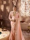 image of Designer Wedding Function Wear Peach Fancy Fabric With Heavy Blouse