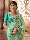 photo of Wedding Wear Cyan Fancy Fabric Designer Saree With Embroidered Blouse