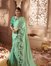 image of Wedding Wear Cyan Fancy Fabric Designer Saree With Embroidered Blouse