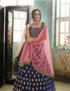 image of Embroidered Occasion Wear Lehenga In Navy Blue Velvet Fabric