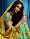 photo of Sea Green And Yellow Art Silk Embroidered Designer Saree With Fancy Blouse