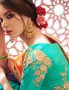 photo of Dark Cyan And Orange Art Silk Designer Embellished Saree With Stylish Blouse