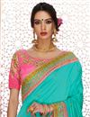 photo of Embroidered Art Silk And Satin Cyan And Pink Saree With Fancy Blouse