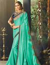 image of Wedding Wear Designer Fancy Fabric Cyan Saree With Embroidered Blouse