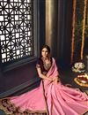 photo of Embroidered Pink Wedding Function Wear Fancy Fabric Saree With Blouse