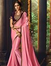 image of Embroidered Pink Wedding Function Wear Fancy Fabric Saree With Blouse
