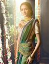 photo of Fancy Fabric Teal Party Wear Designer Saree With Embroidered Blouse