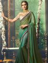 image of Fancy Fabric Teal Party Wear Designer Saree With Embroidered Blouse