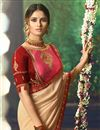 photo of Party Wear Fancy Fabric Designer Embellished Saree In Chikoo Color With Heavy Blouse