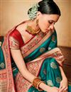 photo of Festive Wear Jacquard Silk Fabric Teal Designer Fancy Saree With Two Blouses