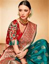 picture of Festive Wear Jacquard Silk Fabric Teal Designer Fancy Saree With Two Blouses
