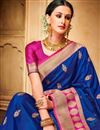 photo of Jacquard Silk Fabric Designer Wedding Function Wear Fancy Saree With Two Blouses