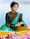 photo of Art Silk Designer Saree In Turquoise Color With Embroidery Work And Entrancing Blouse