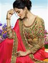 photo of Dazzling Embroidery Work On Red Party Wear Saree In Art Silk
