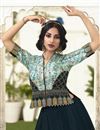 photo of Eid Special Traditional Embroidered Navy Blue Function Wear Satin Silk Fabric Lehenga Choli