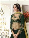photo of Eid Special Satin Silk Fabric Function Wear Traditional Embroidered Lehenga In Dark Green