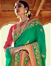 photo of Embroidery Work On Dark Green Art Silk Fabric Party Wear Saree With Amazing Blouse