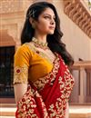 photo of Festive Wear Red Color Designer Fancy Fabric Embroidered Saree
