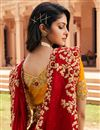 picture of Festive Wear Red Color Designer Fancy Fabric Embroidered Saree
