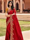 image of Festive Wear Red Color Designer Fancy Fabric Embroidered Saree