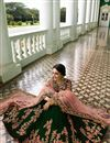 photo of Surbhi Jyoti Velvet Dark Green Designer Wedding Wear Lehenga Choli