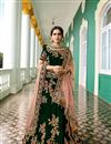 image of Surbhi Jyoti Velvet Dark Green Designer Wedding Wear Lehenga Choli