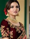 photo of Jasmin Bhasin Velvet Brown Designer Wedding Wear Lehenga Choli