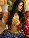 picture of Malaika Arora Designer Fancy Fabric Wedding Function Wear Navy Blue Embroidered Lehenga