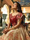 picture of Malaika Arora Designer Fancy Fabric Wedding Function Wear Chikoo Color Embroidered Lehenga