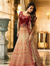 image of Malaika Arora Designer Fancy Fabric Wedding Function Wear Chikoo Color Embroidered Lehenga