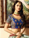 photo of Wedding Wear Cyan Designer Embroidered Lehenga In Fancy Fabric