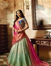 image of Wedding Wear Cyan Designer Embroidered Lehenga In Fancy Fabric