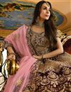 photo of Malaika Arora Reception Wear Fancy Fabric Designer Lehenga Choli In Wine Color