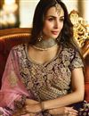 picture of Malaika Arora Reception Wear Fancy Fabric Designer Lehenga Choli In Wine Color
