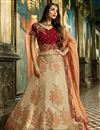 image of Malaika Arora Silk Fabric Beige Wedding Function Wear Fancy Lehenga